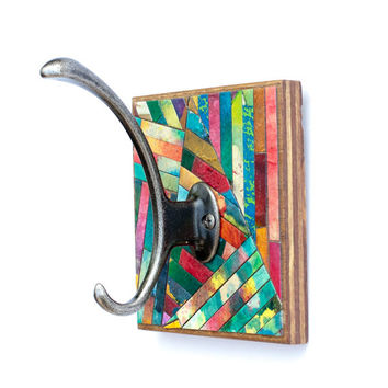 Wall Coat Hook Handmade Paper Colorful Striped Mosaic Geometric Recycled Wood