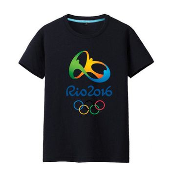Commemorative Tees Rio 2016 Olympic Games Round Neck T-Shirt-Medium Black