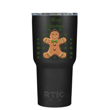RTIC Merry Christmas Gingerbread Man on Black 20 oz Tumbler Cup