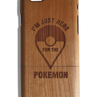 I'm just here for the Pokemon fan art laser print Iphone 5 /5s/ 6/6s wooden engraved bamboo phone case cover Go Team