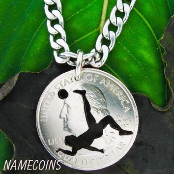 Soccer Necklace bicycle kick, man silhouette on quarter, hand cut coin necklace