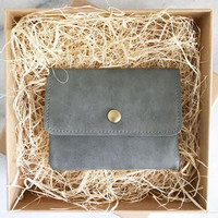 Vegan Leather Coin Wallet, Gray PU Leather Coin Purse,Vegan Leather Coin Holder,Vegan Leather Coin Pouch, Vegan Leather Coin Purse For Men,