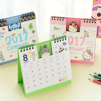 Year 2017 Cute creative Cartoon Characters 3D Desktop Paper Calendar dual Daily Scheduler Table Planner Yearly Agenda Organizer