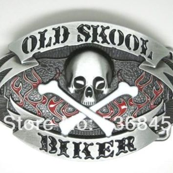 Old School Biker Skull Belt Buckle