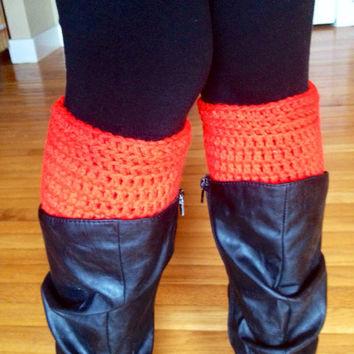 Red Boot Cuffs Crochet Boot Cuffs Boot Socks Crochet Boot Socks Leg Warmers Crochet Leg Warmers Boho Clothing UGA Dance Clothes