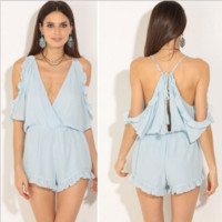 Ruffle Trim Cold  Shoulder Romper B0014692