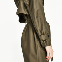 LONG TRENCH COAT WITH HOOD DETAILS