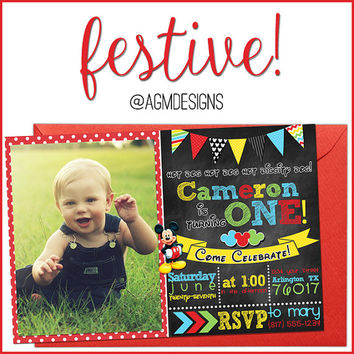Mickey Mouse 1st First Birthday Invite Invitation with Photo and Bunting Banner