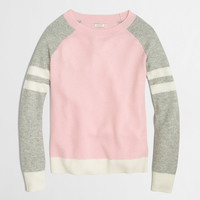 FACTORY VARSITY-STRIPE COLORBLOCK WAFFLE SWEATER