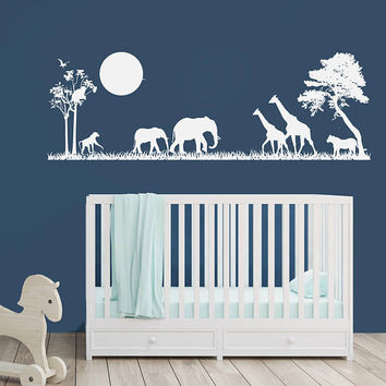 Safari Scene Decal Nursery Decor - Vinyl Wall Decal, Boys bedroom Safari Nursery, Jungle Animals, Above the Crib Decor, Baby Room Decor