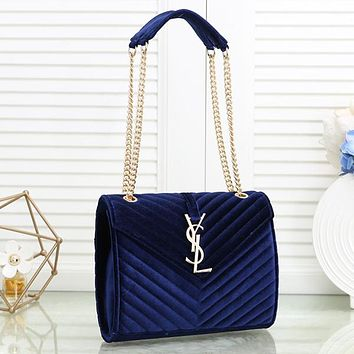 Women Fashion Velvet Chain Crossbody Satchel
