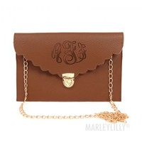 Monogrammed Scalloped Luxe Cross Body Clutch | Marleylilly