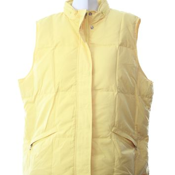 Talbots womens jacket yellow vest bubble style button and zipper Size XL