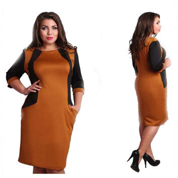2016 office Womens plus size dress half sleeve  patchwork knee-length dress casual o-neck plus size women clothing 6xl 5xl 4xl