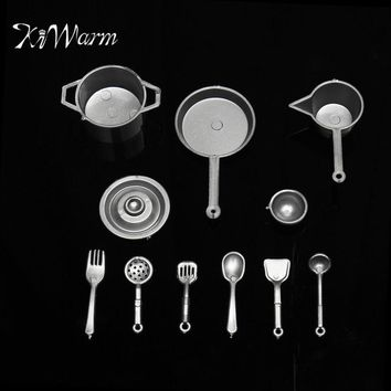 KiWarm Cute 10pcs set DIY Mini Food Kitchen Pot Spoon Utensils Tableware Simulation Dollhouse Toy Ornament Craft Set Gold Silver