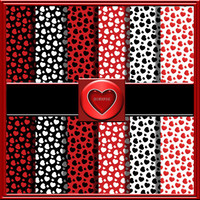 "COMMERCIAL USE OK 6 Digital Valentine Red, Black And White, Heart Scrapbook Papers, 12""x12"" 300Dpi Instant Download"