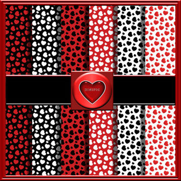 """COMMERCIAL USE OK 6 Digital Valentine Red, Black And White, Heart Scrapbook Papers, 12""""x12"""" 300Dpi Instant Download"""
