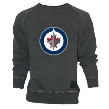 Old Time Hockey Winnipeg Jets Grant Lace Primary Logo Crew Sweatshirt - Charcoal