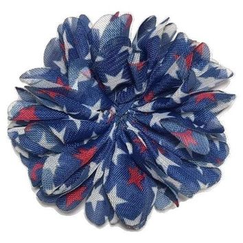 "Navy blue 4th of July star print 2.5"" scalloped chiffon ballerina flower"
