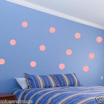 "Polka Dots 6"" Pink Wall Decals Peel & Stick Circles Wall Dots Stickers NR"