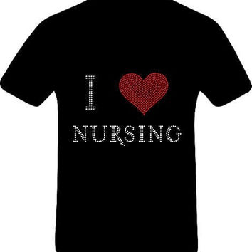I Heart Nursing Bling T shirt