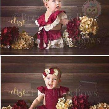 EXTRAS-High Quality Maroon Ruffle Romper with Lace - *Preorder 0104*