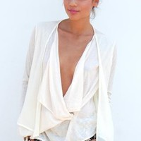 Cream Draped Chiffon Blouse with Plunging Neckline