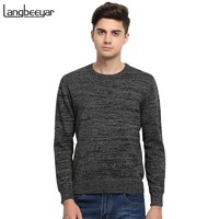 High-grade 2017 New Autumn Winter Fashion Brand Clothing Men's Sweaters Solid Color Slim Fit Men Pullover Knitted Sweater Men