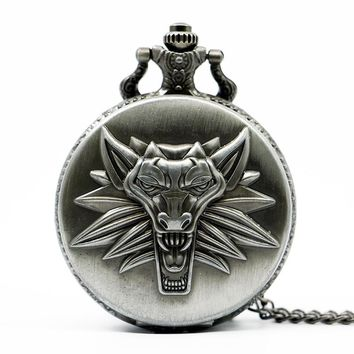 Retro Antique Bronze Round Quartz Pocket Watch Men Woman The Witcher 3 Wild Hunt Fob Watch #TD2082