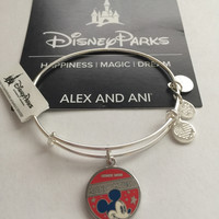 Disney Alex and Ani Parks Mickey Mouse Banner Bangle Silver Finish New Tags