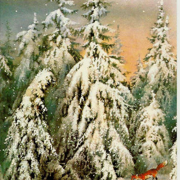 Fox in winter forest, Vintage  Russian Postcard USSR Soviet 1988