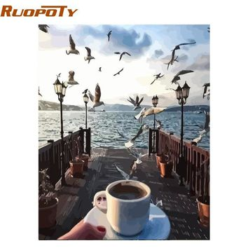 RUOPOTY Frame Picture Seagull DIY Painting By Numbers Hand Painted Oil Painting Modern Wall Art Picture For Home Decors 40x50cm