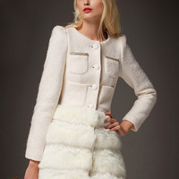 White Long Sleeve Contrast Faux Fur Hem Coat - Sheinside.com