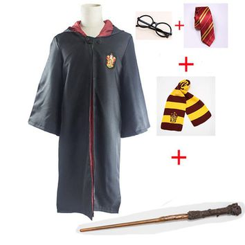 Cool Harri Potter Cosplay Costumes Robe Cape Cloak with Tie Scarf Wand Glasses Ravenclaw Gryffindor Hufflepuff Slytherin HermioneAT_93_12