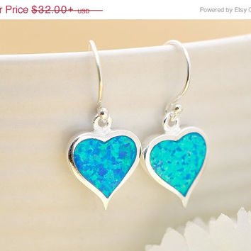 ON SALE Heart Earrings,Blue Opal Earrings,Stud Earrings,Geode Earrings,Gemstone Earrings,Agate Earrings,October Birthstone,Stone earrings