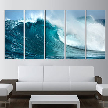 ocean wave canvas art print, sea wall art, large canvas print, extra large wall art, lanscape canvas print, seaside canvas printing t19