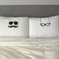 His and Hers Pillows Cool Pillow Cases Glasses Pillow by uVinyl