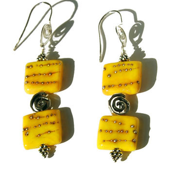 Handmade Yellow Unicorne Bead Earrings with Sterling and Bali Silver. Yellow square bead earrings, spiral bead earrings, yellow earrings