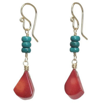 Turquoise and Coral Rose Gold Earrings