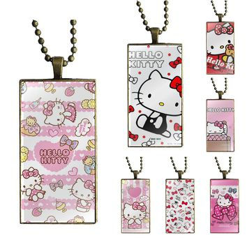 For Women Children Cute Hello Kitty My Melody Bow Brand Bronze Color Jewelry Fashion Statement Necklace Glass Necklaces Pendants