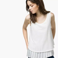 White Pleated Layered Sleeveless Chiffon Blouse