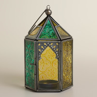 Cool Multicolor Sabita Embossed Glass Tabletop Lantern - World Market