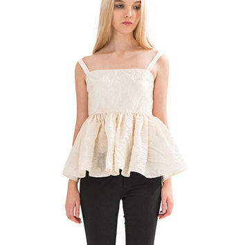 Strappy Backless Flounced Ruffle Tank Top