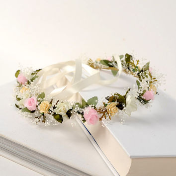 Romantic Wedding Crown, Dried Flower Headpiece, Bridal Head Wreath, Floral Hair Piece with Babys Breath, Fairy Headband, Australian Wedding