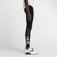 Nike Pro Leg-A-See JDI Leggings Tight Black Just Do It Metal 678858 NWT Metallic