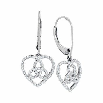 10kt White Gold Women's Round Diamond Triquetra Heart Trinity Dangle Earrings 1-4 Cttw - FREE Shipping (US/CAN)