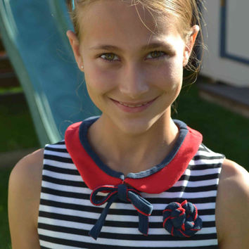 SET-- Peter pan collar necklace and rose brooch, red navy blue upcycled pin bow fabric bib necklace women girls teen July 4th back to school