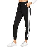 2017 Sweatpants Women Casual Pants Drawstring Waist Loose Pants Trousers Women Spring Striped Side Sweat Pants Harem Pants