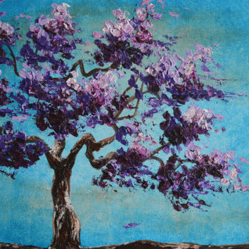 Purple Morning, Tree of Life, Original Painting, Purple Tree