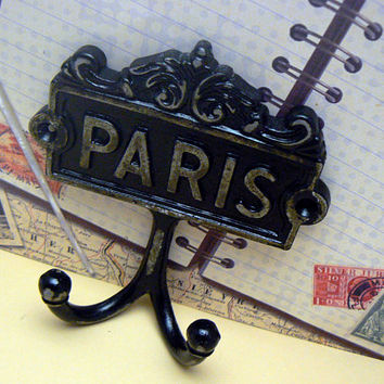 Paris Cast Iron Wall Hook Black French Shabby Style Chic Design Art Decor Paris Jewelry Towel Leash Key Mudroom Double Hook